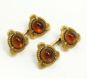 Antique Louis Comfort Tiffany 14k Gold Citrine Cufflinks