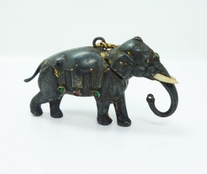 Mughal Jeweled Silver Elephant Perfume Bottle
