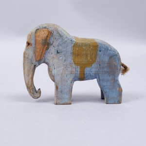 Antique Folk Art Carved Wood Elephant